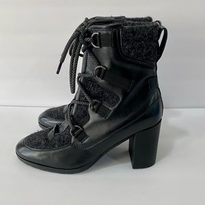 NAPOLEONI Leather Lace Up Granny High Heel Booties
